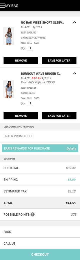 PacSun mobile shopping cart (iPhone app)