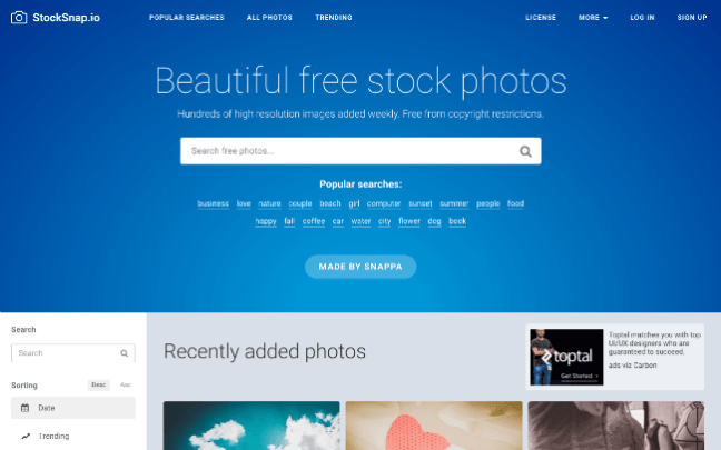 StockSnap.io free stock photo website