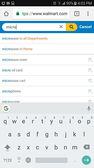 Walmart mobile site search suggestions