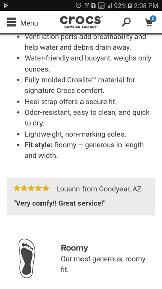 Crocs featured customer review on mobile PDP