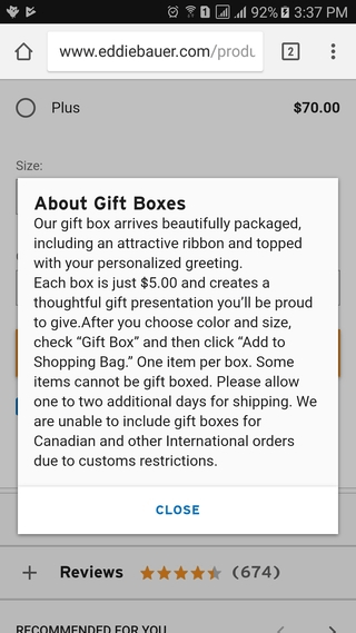 Eddie Bauer gift box info mobile website popup
