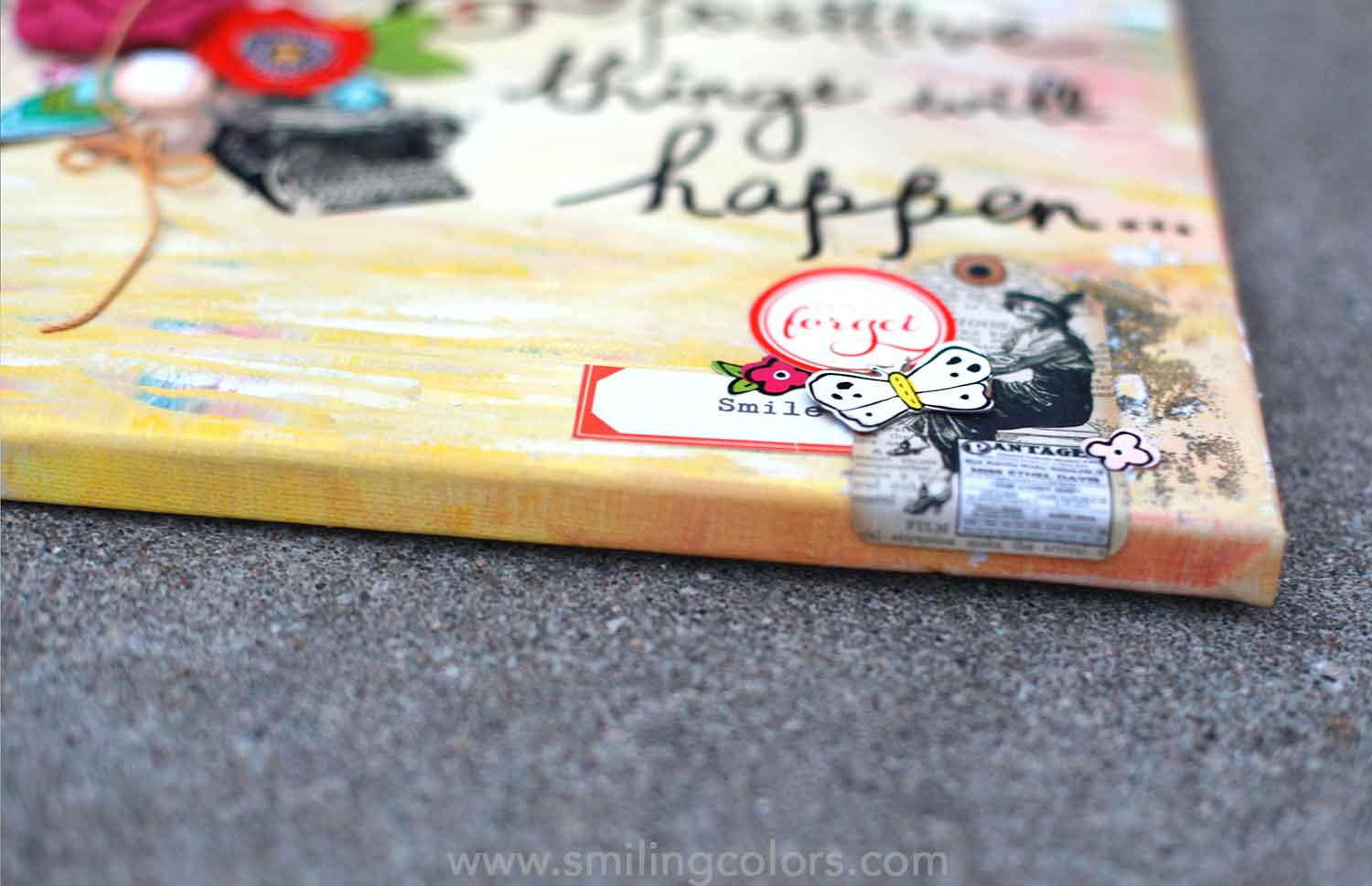 Diy Canvas Quote Art How To Create A Mixed Media Smiling Colors