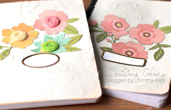 Diy altered notebooks tutorial using no sew fabric glue smitha katti a composition notebook a patterned paper with bold flowers a label sheet mightylinksfo