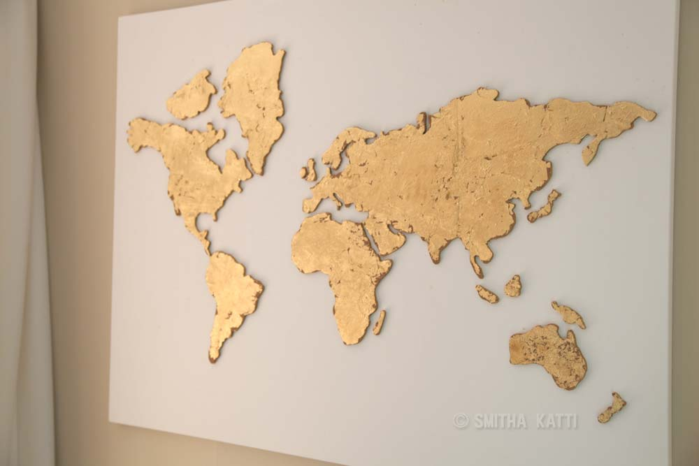Diy world map wall art that is easy to make and unique smitha katti diy world map wall art gold leaf gumiabroncs Image collections