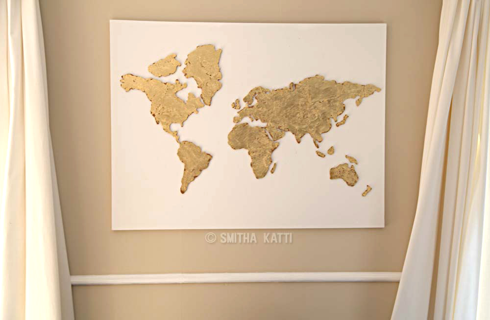 DIY World map wall art that is easy to make and unique