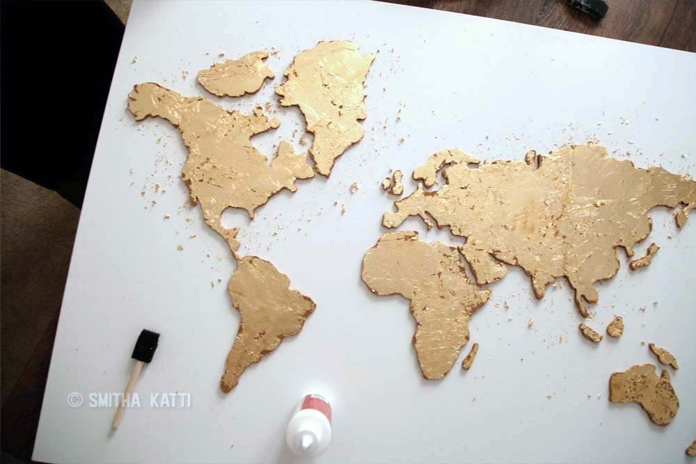 diy world map wall art glue