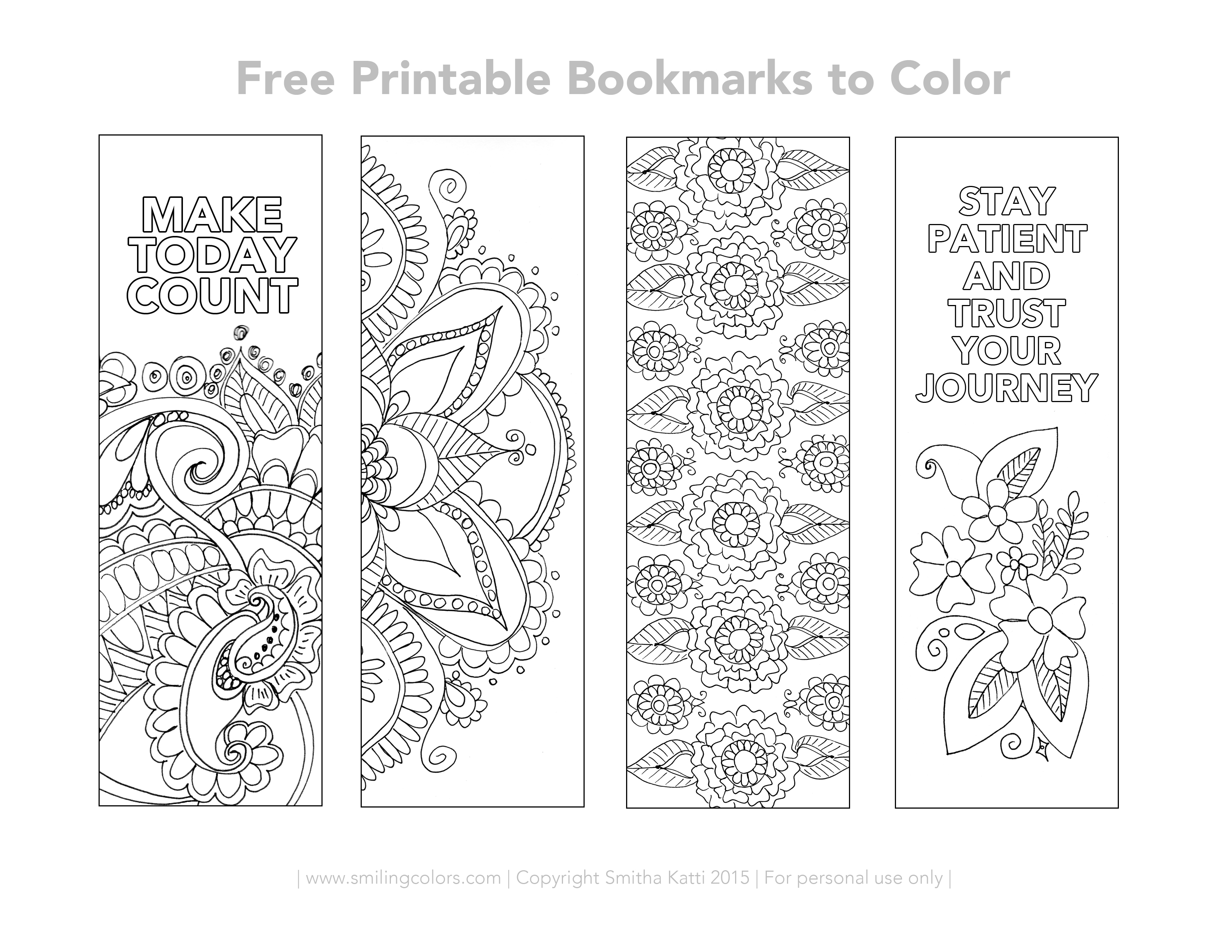 image relating to Printable Bookmarks called No cost Printable Bookmarks in direction of coloration - Smitha Katti