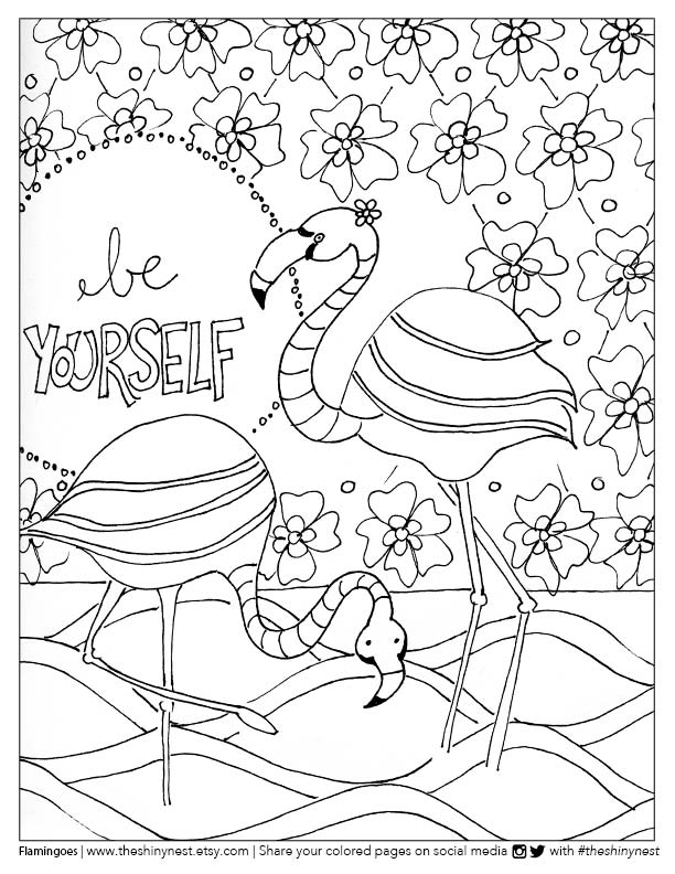 Flamingo Coloring Page FREE printable + Coloring Video