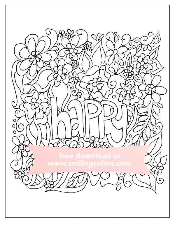 free-happy-coloring-page - Smitha Katti