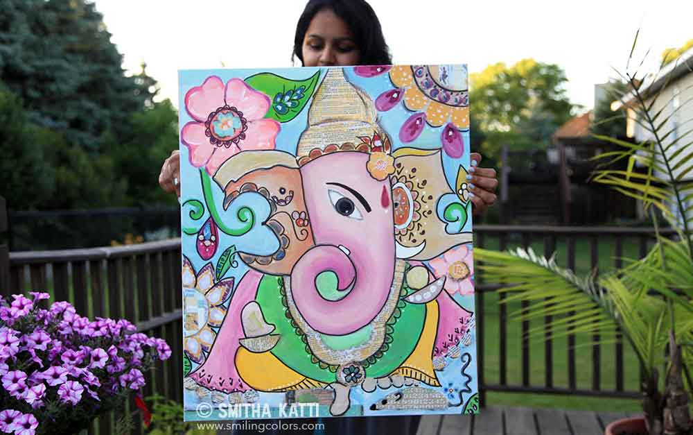 Ganesh Painting In Mixed Media With A Time Lapse Video