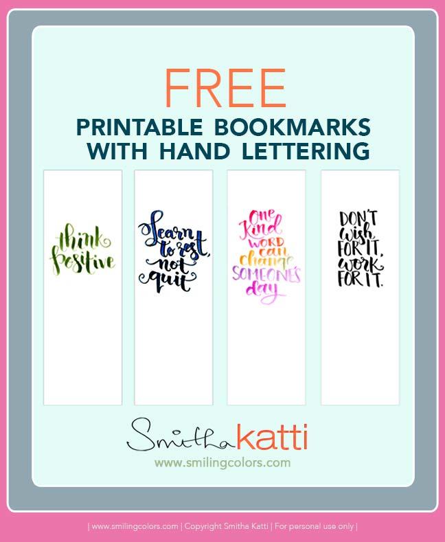 graphic regarding Printable Bookmarks referred to as Printable bookmarks with hand lettering - Smitha Katti