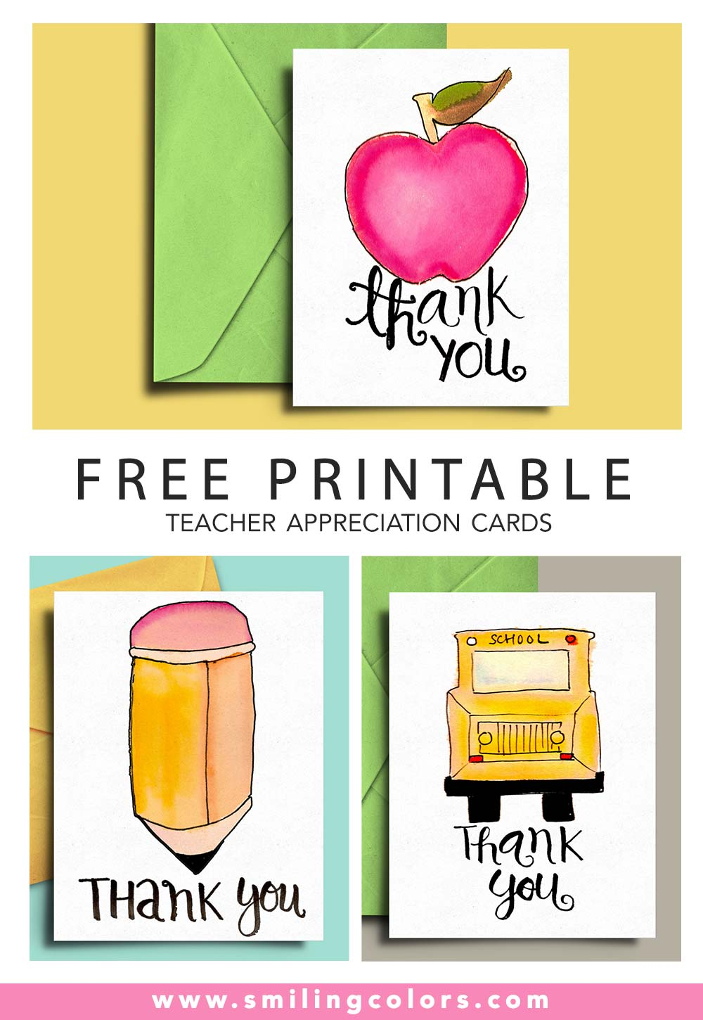 Thank you card for Teacher and School Bus Driver with FREE Printables