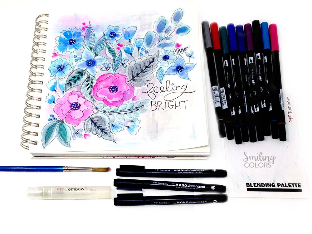Watercoloring with Tombow markers Video - Smiling Colors