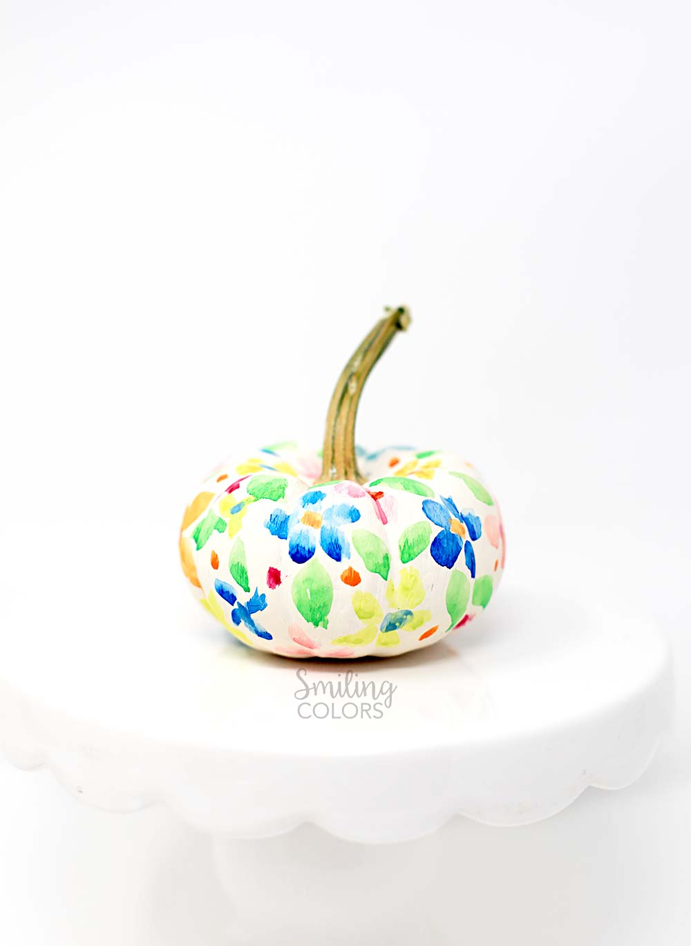 floral painted pumpkin