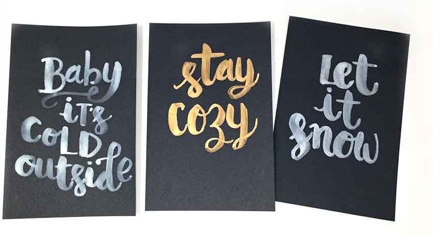 brush lettering on black paper video tutorial and tips