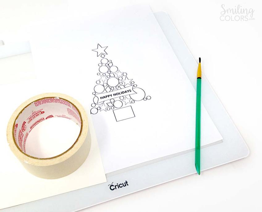 watercolor christmas card tutorial cricut