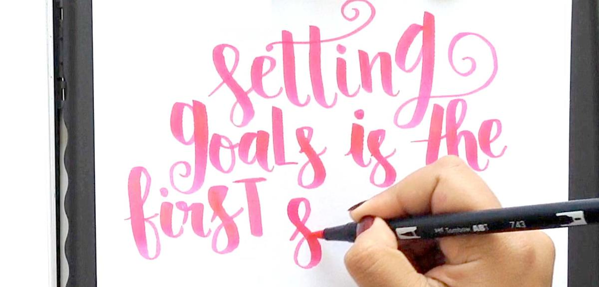 Brush pen lettering VIDEO tutorial for quote and phrases