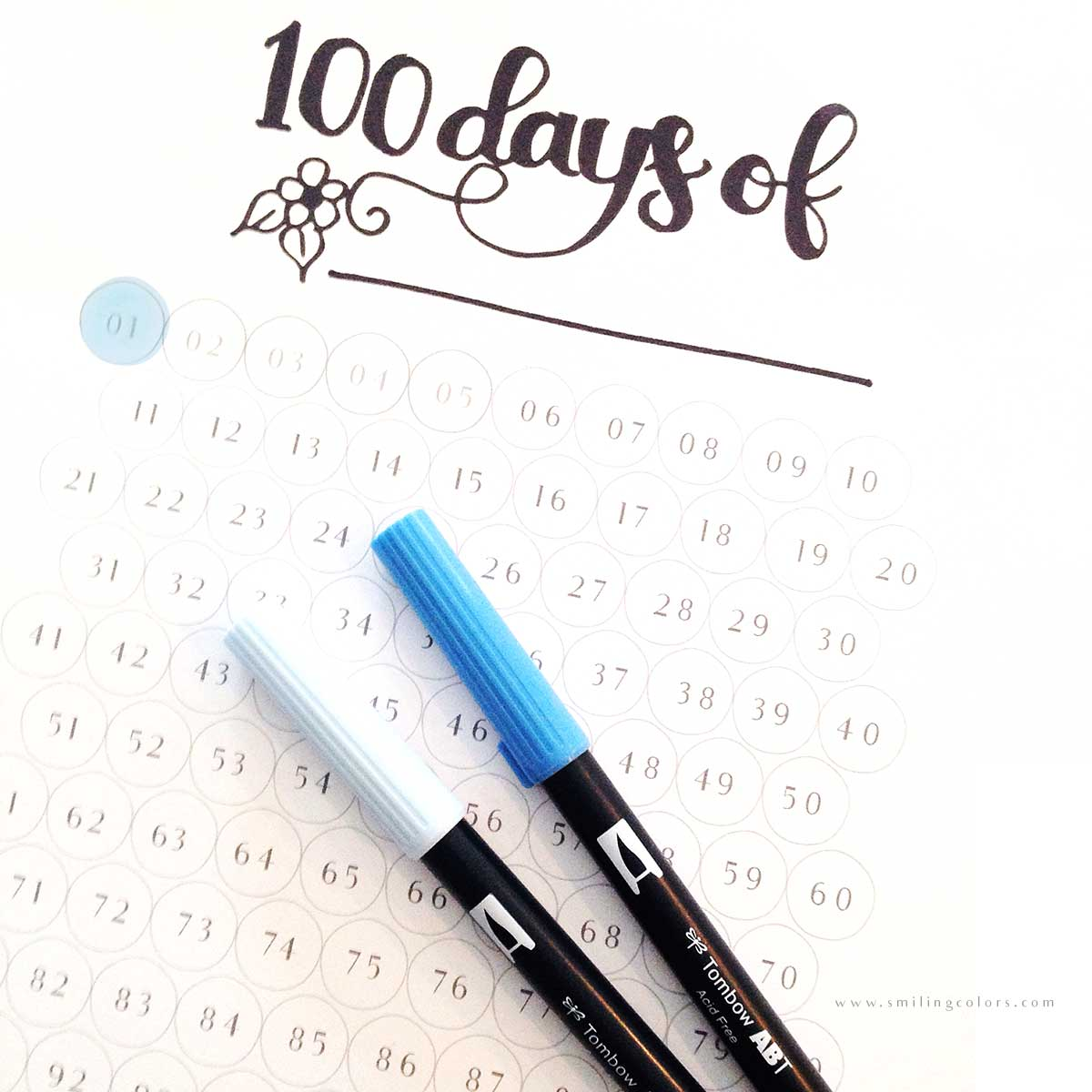 FREE 100 day goal tracking printable, just download and color!