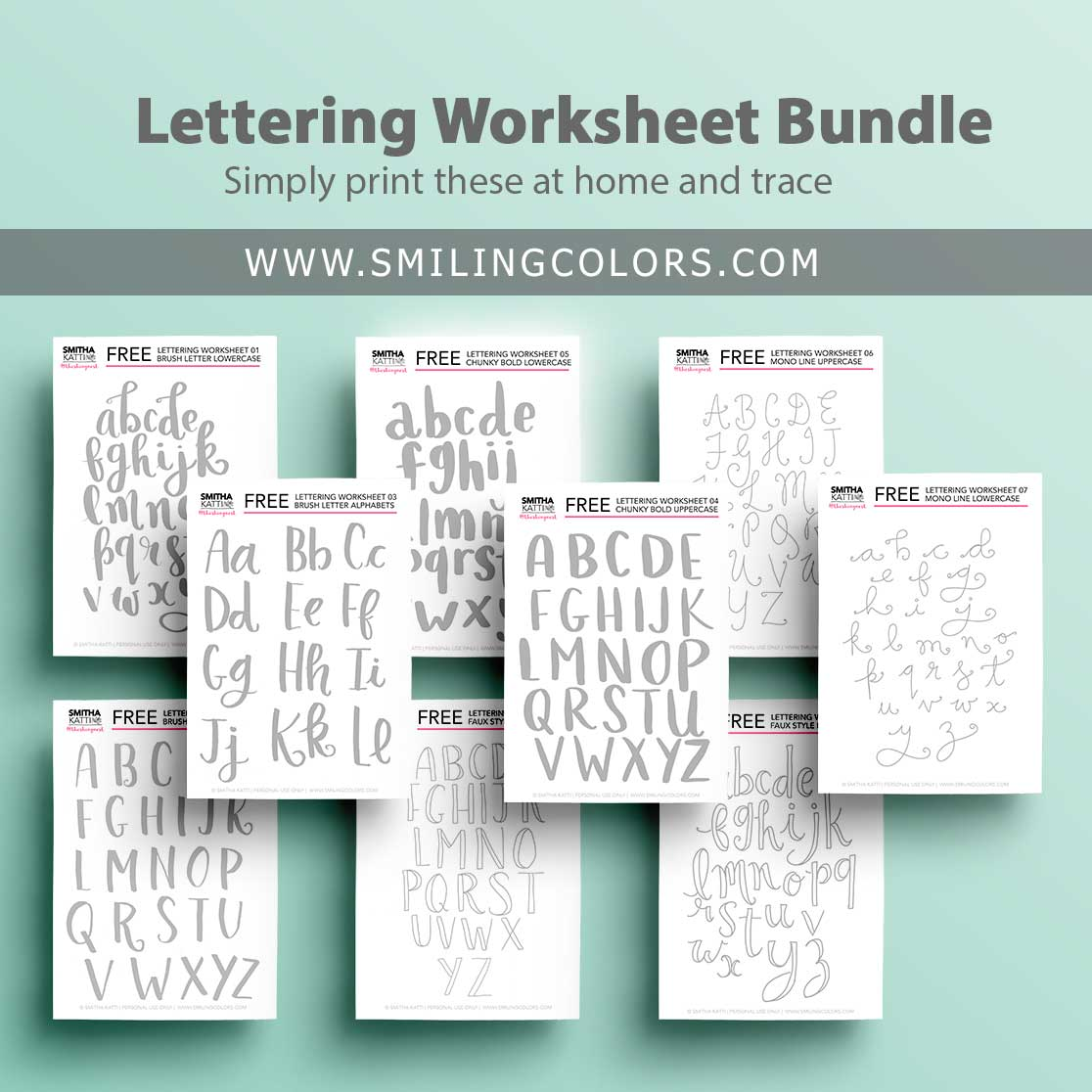 Lettering worksheets: 9 FREE printable practice sheets to trace