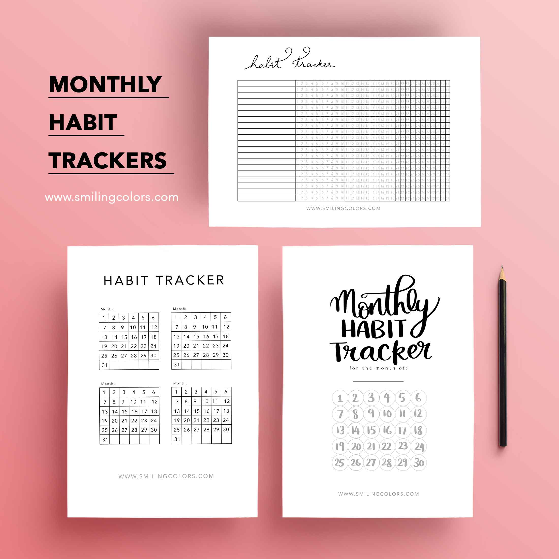 This is a photo of Monthly Habit Tracker Printable inside 3 month habit