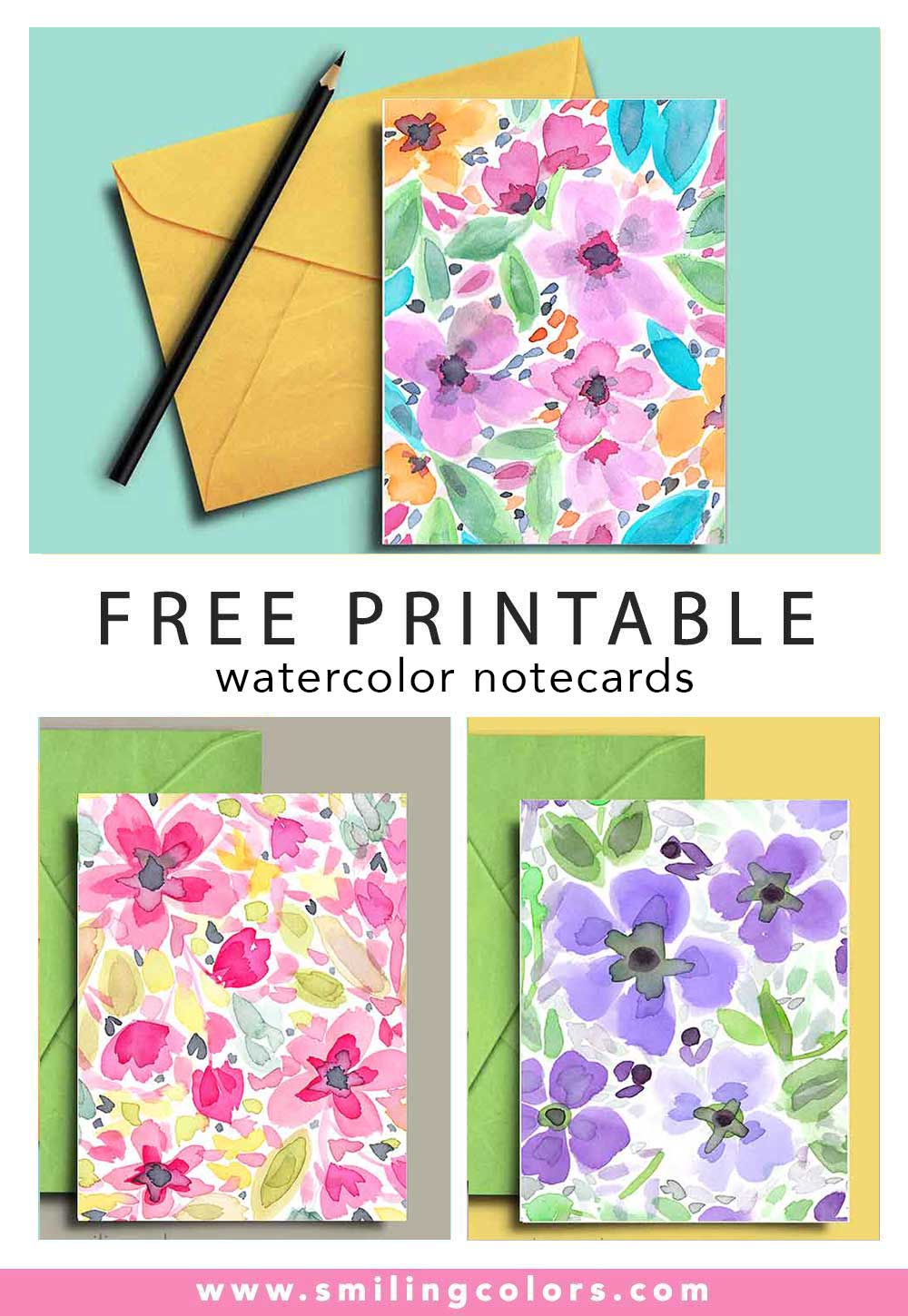graphic regarding Printable Note Cards identify No cost Printable watercolor notecards that yourself can down load