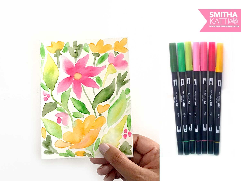 Simple Watercolor Flowers Using Tombow Dual Brush Pens Smitha Katti