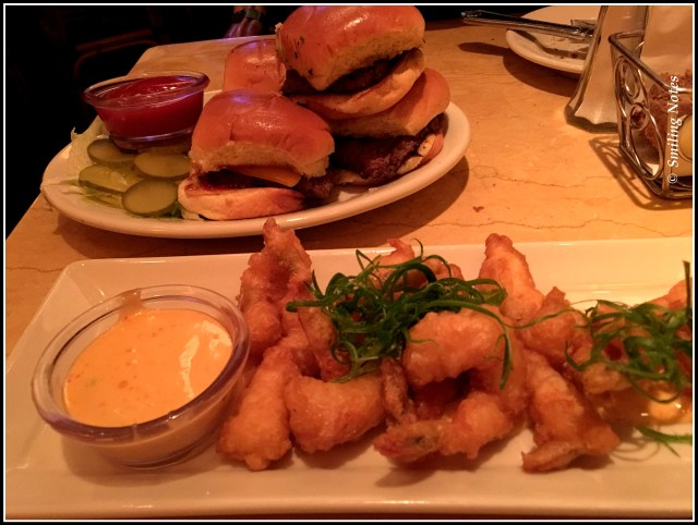 sliders and shrimp tempura