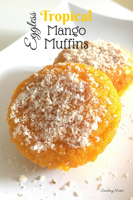 Eggless mango muffins or cupcakes