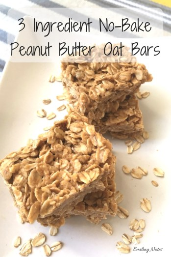 3 Ingredient No Bake Peanut Butter Oatmeal Bars p- These 3-Ingredient No-Bake Peanut Butter Oat Bars are perfect as an after school or as an after work treat!