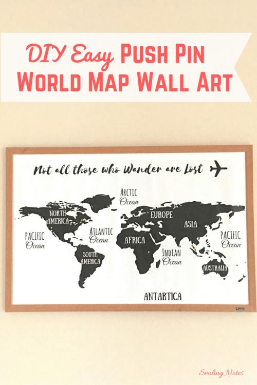 DIY Push Pin World Map Wall Art