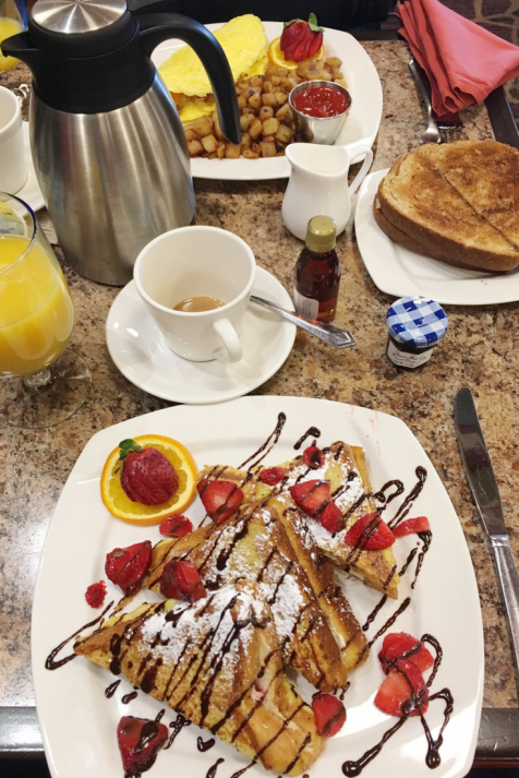 Strawberry Stuffed French toast and Wester Omelette at Seaway Grille - 1000 Islands Harbor Hotel, Clayton