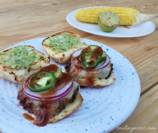 Grilled pork tenderloin sliders with BBQ sauce and guacamole
