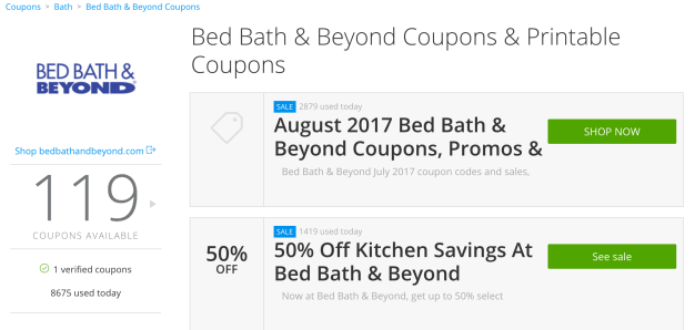 Groupon coupons - Bed, Bath and Beyond