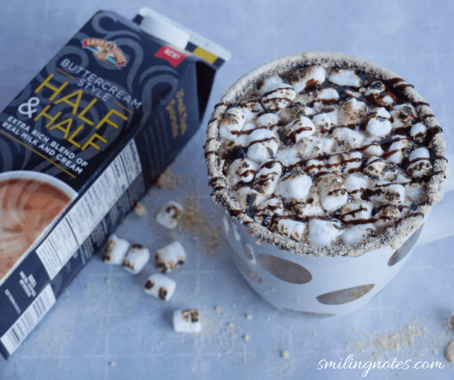 S'mores Hot Chocolate using half and half