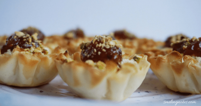 Goat cheese and fig phyllo bites