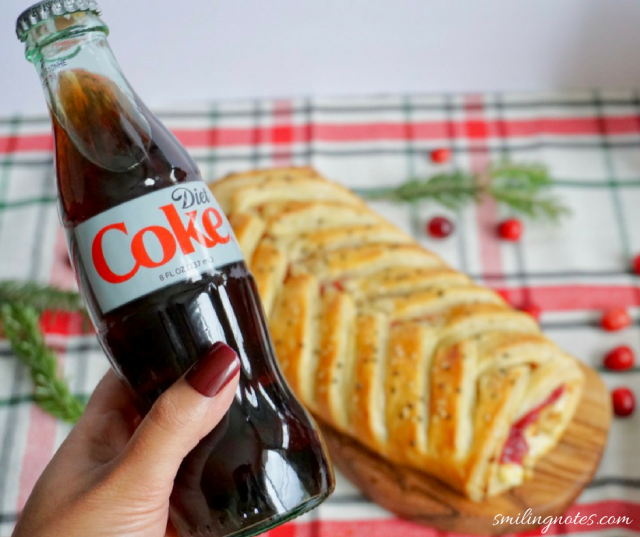 Chicken Cranberry puff pastry braid and Coca-Cola