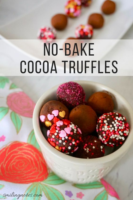 no bake cocoa truffles - With Valentine's Day just around the corner, these no-bake cocoa truffles will surely light up your loved one's day!