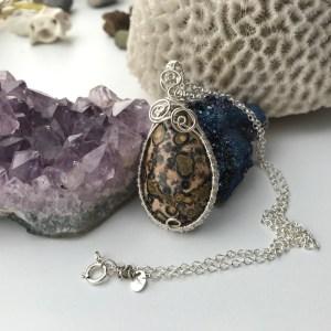 Leopard jaspis sølvhalskæde