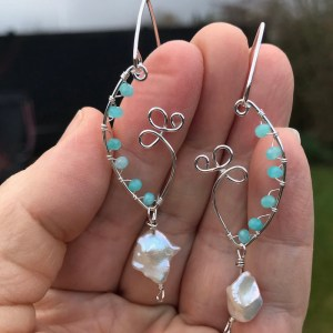 Krystal øreringe med amazonit