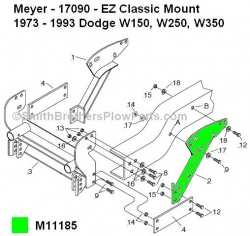 Meyer Plow Mount LH Brace Part#11185 replaces old Meyer