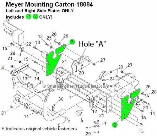Side Plates for Meyer Mounting Carton 18084 Jeep Cherokee