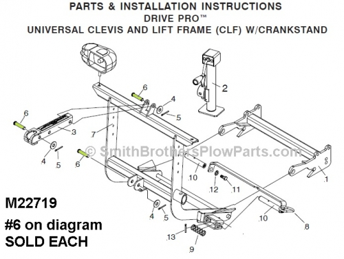 Meyer Drive Pro Clevis Pin used to mount E-58H to lift