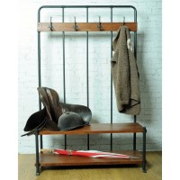 Industrial Entry Way Coat Rack Bench Foyer School Vintage