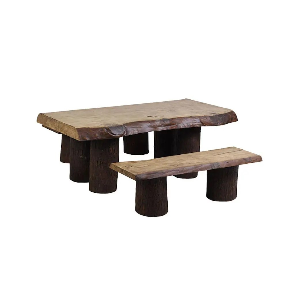 rustic garden table bench set