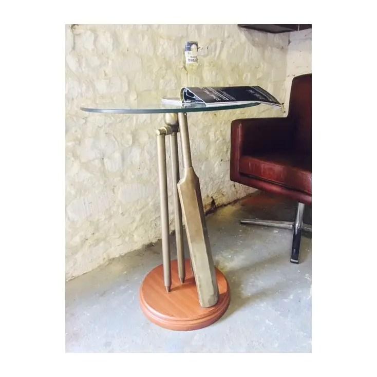 Vintage Brass Glass Cricket Bat Side Table Memorabilia