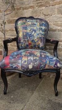 The batman comic chair is flying from gotham