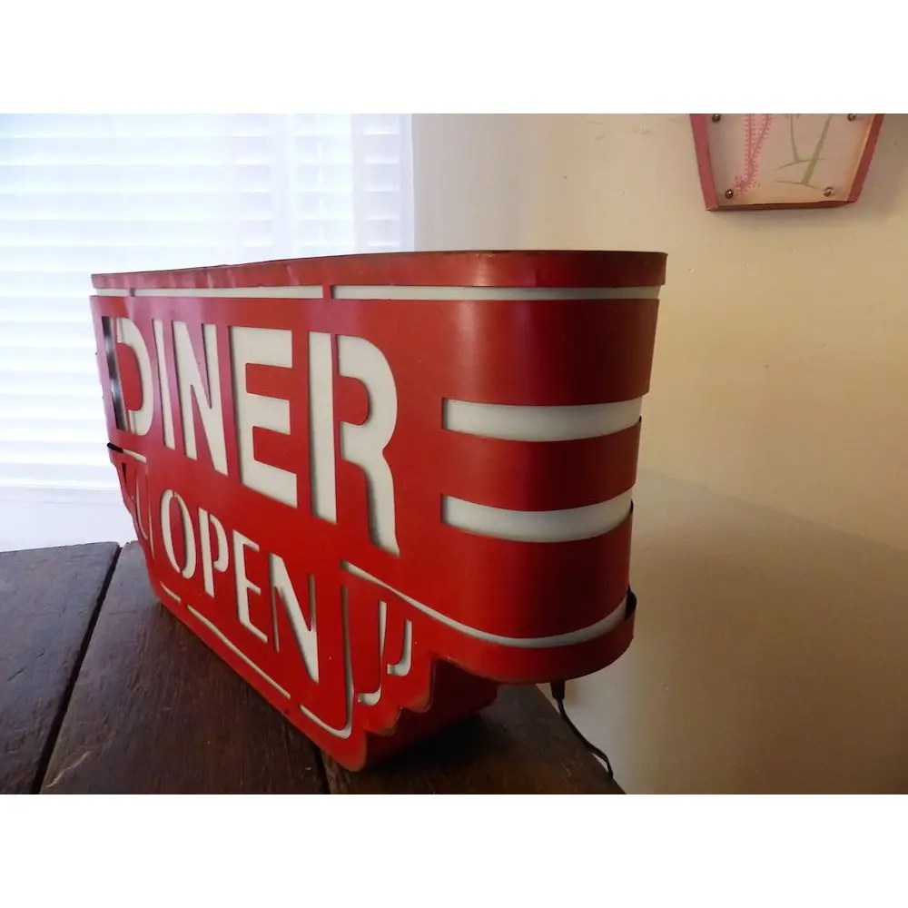 metal kitchen chair cushions best exercise ball red american wall diner sign light up box