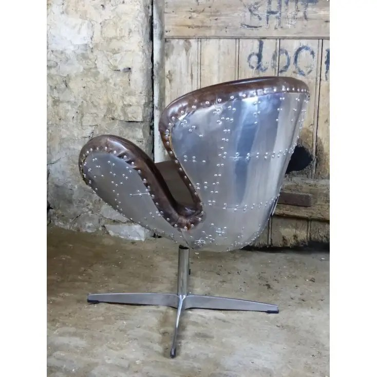 distressed leather dining chairs uk lowes wicker aviator chair swivel with brown and metal backed rivet