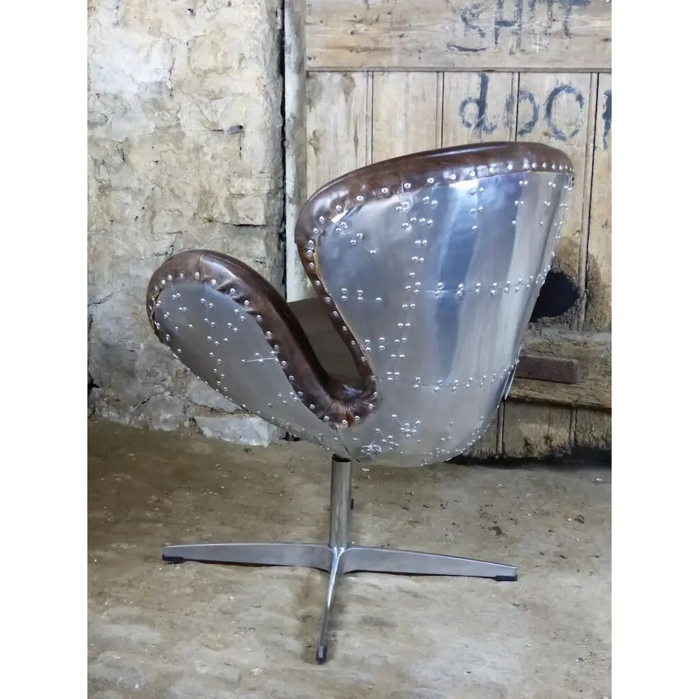 Aviator Chair Swivel With Brown Leather And Metal Backed
