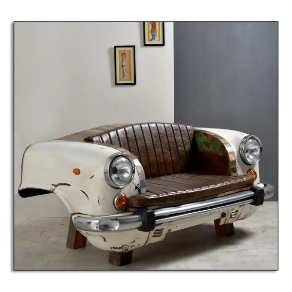 White Car Seat Sofa Chair Front And Rear End Vintage Taxi